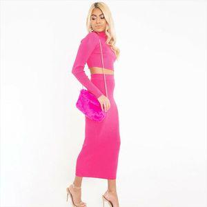 women tracksuit Womens Long Sleeve Turtleneck Top Skirt Set Two piece Slim Bandage Dress Little Party