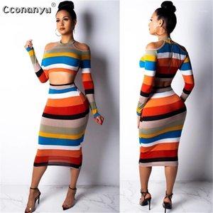 Два куска платье 2021 набор женских урожая Top Sexy Off Play Slim Bodycon Nigthclub карандаш с длинным рукавом с длинным рукавом 2