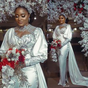 African Mermaid Wedding Dresse Sheer Jewel Neck Pleat Long Sleeve Bridal Gowns Lace Appliques Wedding vestidos de novia