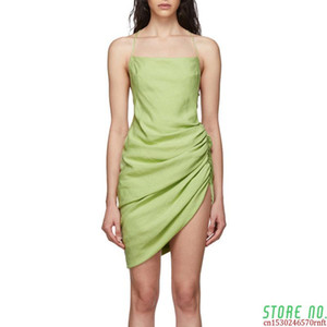 Casual Ruched Dress For Women Spaghetti Strap Square Collar Backless Dresses Female 2020 Summer Fashion New
