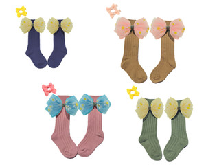 Toddler Girls Socks Bows Beading Knee High Princess Socks For Girl Cute Newborn Baby Cotton Sock 0-7Y 2pair 4pcs