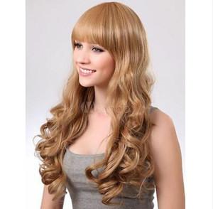 Parrucca sintetica sintetica in oro contemporaneo moda parrucca lunga ondulata parrucca capelli ricci