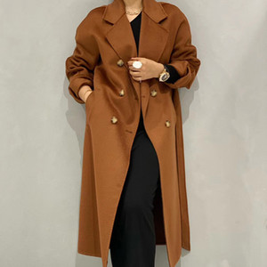 Winter 2021 High-end Lapel Lacing Belt Plus Size Loose Long Water Ripple Double-sided Wool Coat Women Handmade Cashmere Jacket