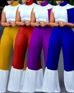 Femmes africaines Combinaison Mode Contraste Contraste Couleur Sans manches Sans manches Haute Élimée Grandes Rompeurs Femmes Designers Vêtements