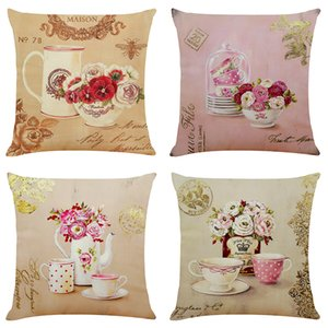 Tea Set Linen Cushion Covers Home Office Sofa Square Pillow Case Decorative Pillow Covers Without Insert (18*18Inch)