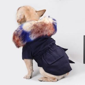 Мода теплой зимы Одежда для собак Роскошных мехов собак Пальто Толстовки для собак Маленького Средней ветрозащитного Pet Одежда флис подкладки Puppy Jacket