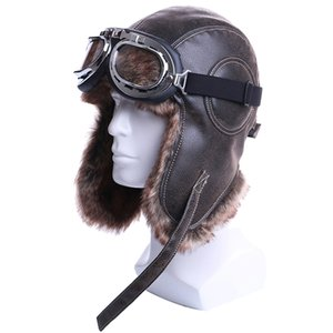 Bomber inverno cappelli della peluche di Earflap russo Colbacco con pelle Trapper Cappello Aviatore pilota Faux berretti di pelliccia neve di occhiali di protezione delle donne degli uomini
