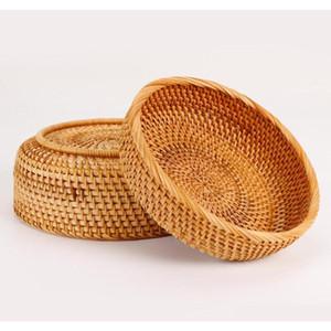 3pcs Set Round Storage Basket Fruit Dish Rattan For Weaving Handmade For Kitchen Food Picnic Bread Sundries Decor Co qylpfW ppshop01