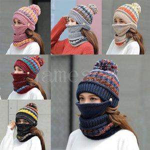 Masque d'hiver Chapeau Foulard Set épais femmes chaudes accessoires d'hiver en polaire à l'intérieur de chapeau tricoté foulard Ensemble 3pcs hiver équitation chapeaux db12