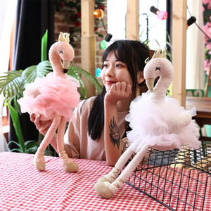 INS lovely flamingos plush toy swan plush toys cute flamingo doll stuffed soft animal doll ballet swan with crown A5057