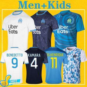 Olympique de Marseille Mailleot Om Soccer Jersey Men Kids Kit 2021 Mailleot De Foot 20 21 Payet Benedetto Sakai Kamara Football Commet