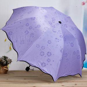 3-dobrados poeira anti-uv guarda-sol guarda-sol guarda-chuva magia flor cúpula protetor solar guarda-sol portátil w99