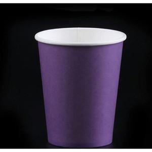 10pcs Pure Color Party Poignée Jetable Coupes Juice Coupe Coupe DIY Décoration Baby Douche Baby Douche Enfants Anniversaire Pique-nique Vaisselle de pique-nique Fourniture Fabrite