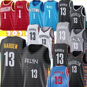 City 13 Harden Jersey Jerse John 1 Wall Jersey Top Basketball Jerseys Новые сшитые дешевые продажи S-XXL Mens