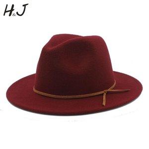 % 100 Yün Kadın Erkek Outback Fedora Şapka ile Geniş Brimy Cloche Caz Godfather Cap Szie 56-58CM