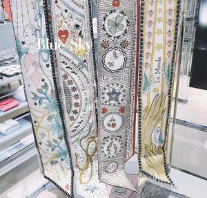 7Styles Mode excellenter 100% Seidenkrawatte Schal 2020 Mode Frauen silk Haar Stirnband Dameschal kleines Farbband gedruckt Seidenschals 6 * 100cm