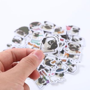 Td Zw 40pcs Pug sveglio Espressione della decalcomania degli autoadesivi Giovani studenti Notebook Backpack Laptop Deposito Phonecase Kids Toy Sticker yxlsby
