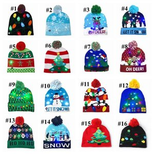 Led Christmas hats 16 style Halloween Knitted Hats Kids Baby Moms Winter Warm Beanies Pumpkin Snowmen Crochet party Caps By DHL