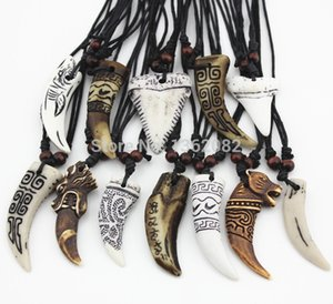 Wholesale 12pcs Mixed Cool Imitation Bone Carved Dragon Totem Shark Wolf Tooth Pendant Necklace Amulet MN465 200928