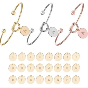 26 Letter Love Knot Bracelet Bangle Girl will you be my bridesmaid Jewelry Personality Round Pendant Chain Bracelets