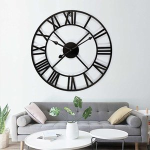 3D Retro Black Iron Wall Clock Large Metal Watch Art Hollow Roman Numeral Ring for Home Living Room DIY Decoration Clocks Crafts