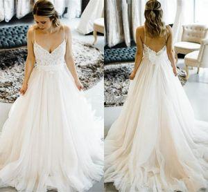 Soft Tulle A Line Wedding Dress 2021 Spaghetti Straps Backless Robe De Marrige Long Sweep Cheap Bride Vestidos