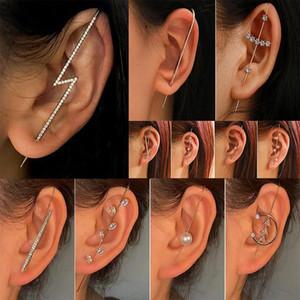 Wedding Ear Wrap Crawler Hook Earring Crystal Zircon Stud Earrings for Woman Industrial Barbell Helix Cartilage Earings Jewelry