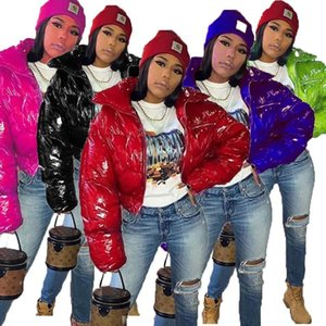 Las nuevas mujeres de invierno brillante algodón gruesa chaqueta acolchada collar del soporte de Nueva reflectante sólido color de la capa de la cremallera de algodón Popular 2020