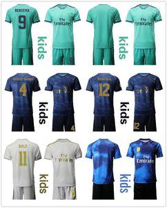 19 20 kids Soccer Jersey Real Madrid Home Away Soccer Jersey Children SERGIO RAMOS #4 HAZARD BENZEMA #9 Football Shirt Kits Uniform for Boy