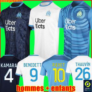 Футболка Olympique De Marseille 20 21 OM 2020 2021 PAYET THAUVIN BENEDETTO футбольная майка футбольные рубашки мужские + детский комплект третий