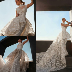 2021 Lace Mermaid Wedding Dresses with Overskirt High Neck Plus Size Bridal Gowns Custom Made robes de mariée