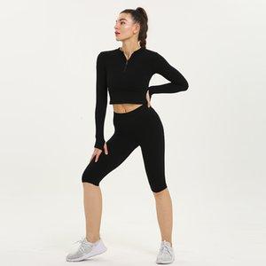 Frauen Yoga Sets 2ST Half Zip Design-T-Shirts Baker Shorts Fitness Anzüge Sport Wear Outfits Laufbekleidung Gym, lf143
