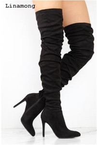 Women Autumn Winnter Over The Knee Boots Pointed Cross-tied And Long Boots Wrinkled Solid High Heels