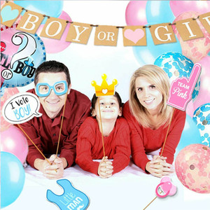 30pcs Photo Props Photo Frame Prop Feeder Balloon Boy Girl Gender Reveal Baby Shower Party Cake Topper Decoration Supplies PPC3084