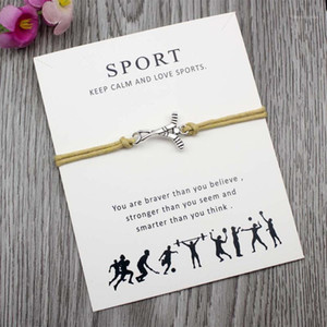 Custom-Hockey Soccer Football Softball Volleyball Baseball Bracelet for Sport Fans Gifts Adjustable Jewelry Card Greeting c1