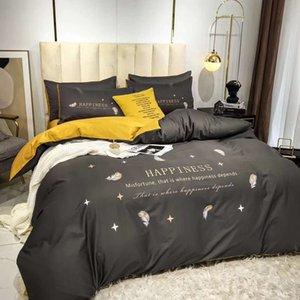 Letter Flower Good Night Sheet Duvet Cover Pillowcase Have A Good Dream Quenn Size Cotton Bedding Sets