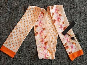 Оптовая дизайнер моды бренд супер мягкий шелк высокого качества двойных атласная лента многофункциональная мода письмо цветок платок