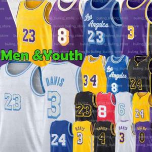 8 33 Jerseys Alex 4 Caruso Los 23 6 Angeles Anthony Kyle Davis Erkekler Siyah LBJ Kuzma Retro Gençlik Aşağı Merion 2021 Yeni Basketbol