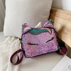 New Fashion Women Sequins Pattern Small Messenger Cross Body Handbag Ladies PU Leather Zipper Shoulder Bag