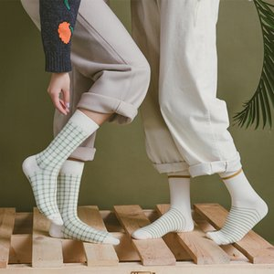 Autumn and winter 2020 new women's Green Plaid striped socks