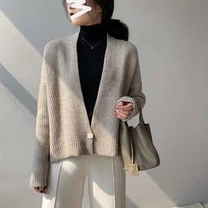 2021 New Atumn V-neck Knitted Sweater One Button Design Cardigans Long Sleeve Poncho Women Cape Sweaters Wjk3