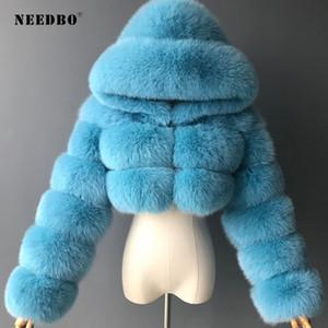 Hohe Qualität geerntete Winte-Pelz-Mäntel Damen Jacken Pelz warme Winter Pelzjacke mit Kapuze Manteau Femme Aufmaß Oberbekleidung 201016