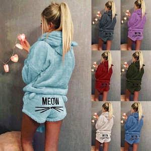 Fashion Women Flannel Soft Cute Sweet Cat Ear Hoodie and Short Pants Two Piece Set Solid Color Sleepwear Lady Winter Warm Hooded Pajamas