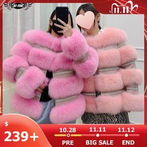 BFFUR 2020 Winter New Real Fox Fur Coat Women Genuine Fox Fur Jacket Splicing Cashmere Woolen Fur Coats With Crystal Diamonds A1112