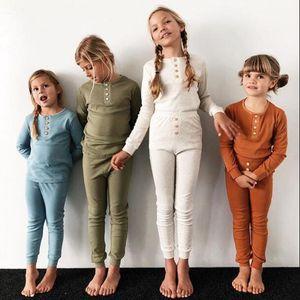 Sleepsuit Пижамы Одежда для девочек Мальчик Твердая с длинным рукавом Брюки Наряды девушки Sleepwear Ночное Baby Дети Cl
