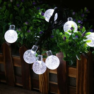 30 LED Crystal Ball Water Drop Solar Powered Globe Fairy 8 Working Effect for Outdoor Garden Christmas Decoration Holiday Lights OWB2387