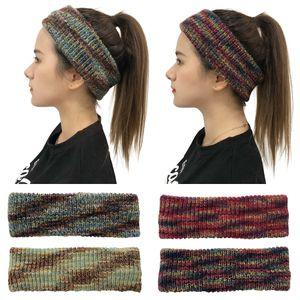 Tie-dye knitted Hair Band Fashion Crochet Headband Winter Warm Wool Crochet Hairband Girls Headwrap Scarf Turban Party Favor RRA3717