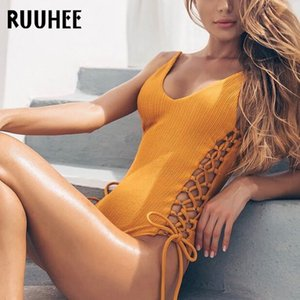 Ruuhee 2020 einteiliger Badeanzug Frauen Aushöhlen Body Massiv Badeanzug Strappy Beachwear Weibliche Monokini Schwarzlose Badebekleidung T200708