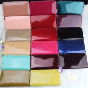 Couros atacado shinny a longo moda de alta qualidade moeda caixa original carteira multicolor bolsa de mulher bolsa com zíper bolso clássico de luxo