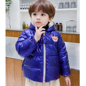 Children Down Jackets Boys Girls Unisex Fashion Solid Color Coat Trendy Bear Printed Outerwear Baby Infants Winter Jackets New